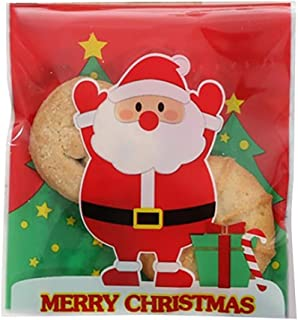 kidirt, Christmas Decorations - 100Pcs Cellophane Cookie Bags Self Seal Biscuit Bags Gift - Merry Christmas Candy Storage See Through Bags for Sweets - Merry Christmas Labels