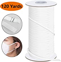 Elastic for Sewing 1/8 inch Elastic Cord Wide Braided Stretch Strap for DIY Sewing Crafting 120 Yards Flat White 3mm