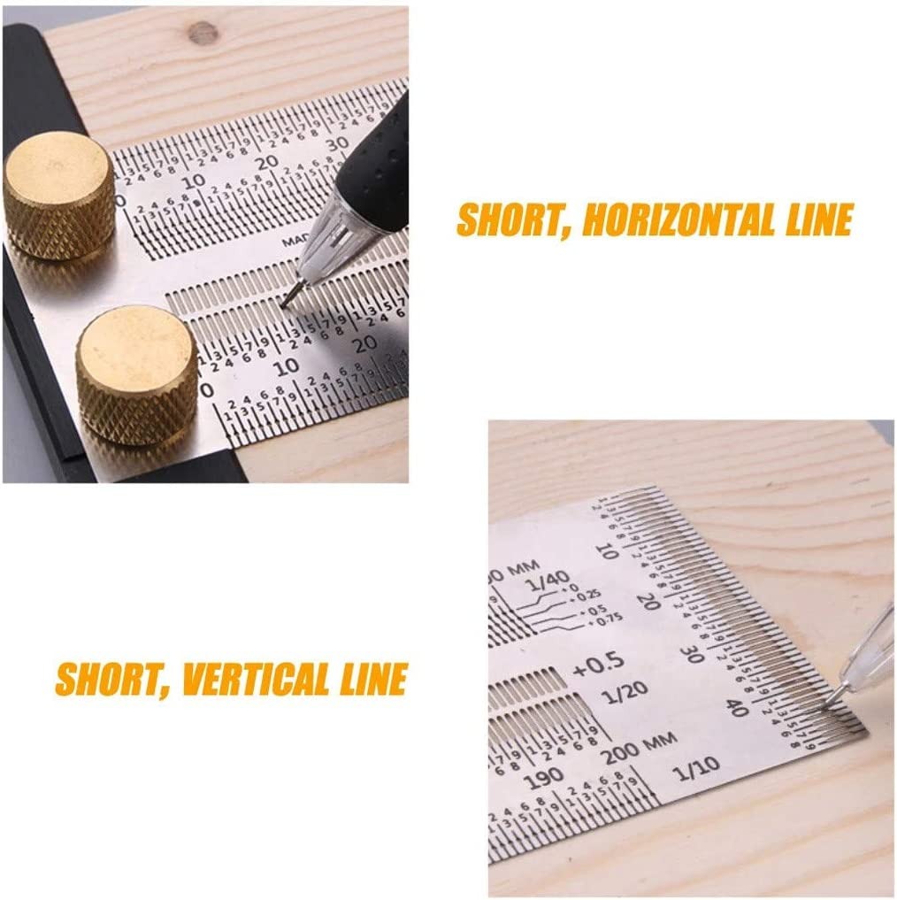 Stainless Steel Marking Rule Right-Angle Ruler with Micro-Fine Marking Holes and Slots Scale Ruler Dasuy Ultra Precision Marking Ruler T-Type Hole Stainless Scribing