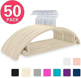 MIZGI Premium Velvet Hangers (Pack of 50) Heavyduty- Non Slip No Shoulder Bump Suit Hangers - Chrome Hooks,Space Saving Clothes Hangers,Rounded Hangers for Coat,Sweater,Jackets,Pants,Shirts (Ivory)