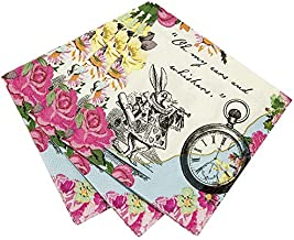 Talking Tables Alice In Wonderland Cocktail Napkins Mad Hatter Tea Party, 9.75 x 9.75 Inch (Pack of 20)
