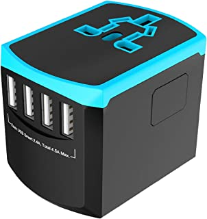ABTOR �Universal Travel Adapter, International Power Plug with 4 USB Ports 2.4A Worldwide AC Outlet�Wall Charger for Europe, UK, US, AU, Asia