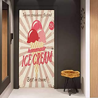 Onefzc Sticker for Door Decoration Ice Cream Vintage Style Sign with Homemade Ice Cream Best in Town Quote Print Door Mural Free Sticker W23.6 x H78.7 Red Coral Cream Tan