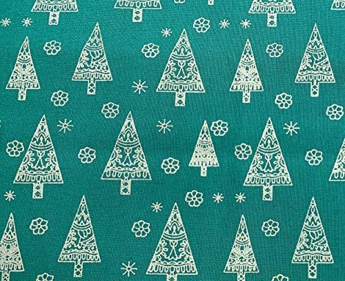 Christmas Fabric - Green & Gold Metallic Christmas Trees- 100% Cotton Craft Fabric Material