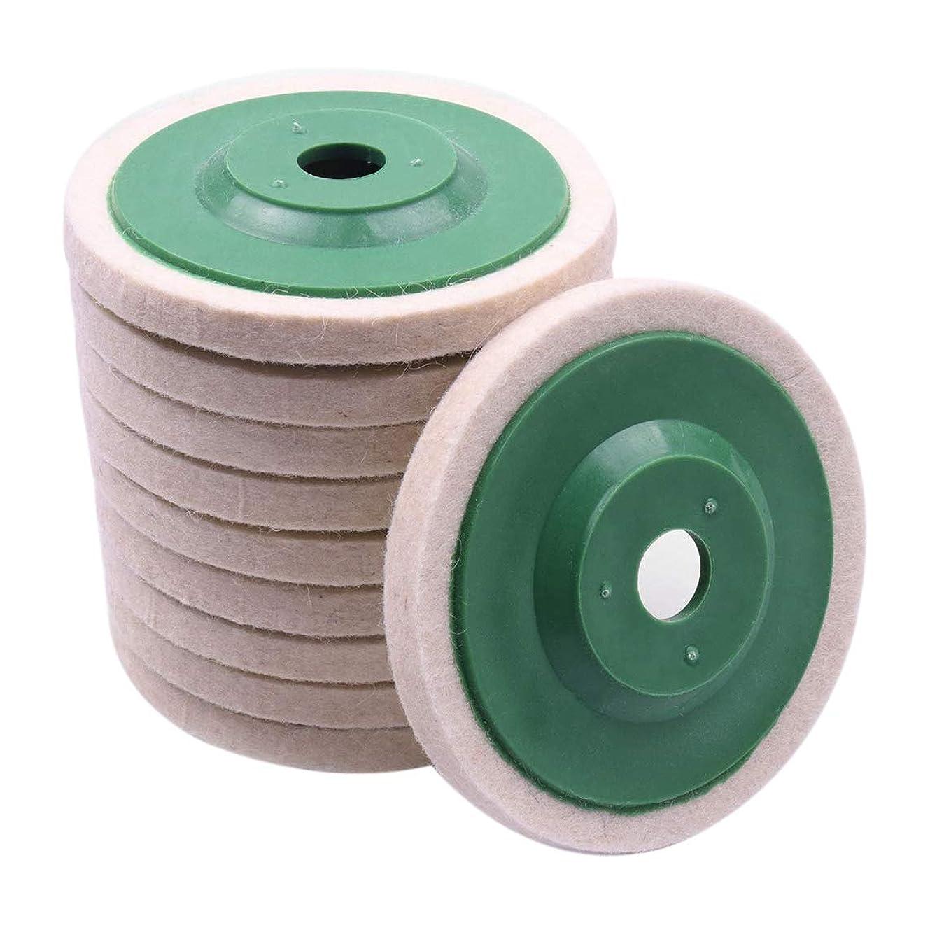 手首恩赦速報ACAMPTAR 10個、100mm 4インチ ウールのバフ研磨円形ポリッシングホイール、パッド、ポリッシャーのホイール、銅鉄&アルミニウム金属研磨用工具