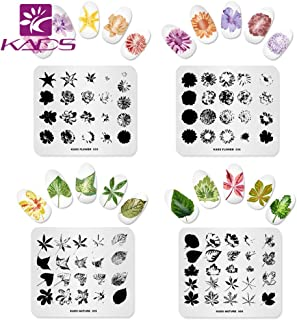 KADS 4 Pcs Nail Art Stamping Plates Flower Leaf Nature Template Image Design Plates for Nail Art Decoration and DIY Nail Art (3)
