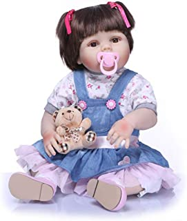 JUNMAO 22 Inch Lifelike Reborn Baby Dolls Girls Handmade Soft Silicone Realistic Newborn Baby Doll with Blue Clothes & Accessories, Gifts and Playmates for Kids Age 3+ (Blue, 22'')