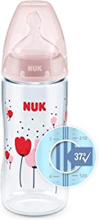 NUK First Choice+ Baby Plastic Bottles, Anti-Colic, 6-18 Months, with Temperature Control, Silicone Teat, BPA Free, Pink, 300 ml, 1 Count