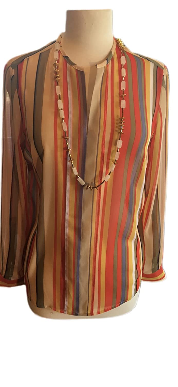 Custom Max 58% OFF Couture XS red striped Max 53% OFF blouse neck with quartz long cream