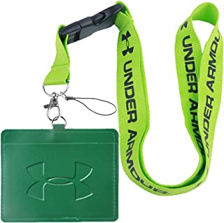 Under Armour Green Faux Leather Business ID Badge Card Holder with (Green with Black) Keychain Lanyard