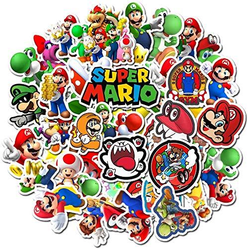 Pegatinas de Super Mario [50 Piezas], Pegatina de Animales Lindos para Niños Pequeños niños Adolescentes, Calcomanías de Vinilo Graffiti para Equipaje de Bicicleta Portátil