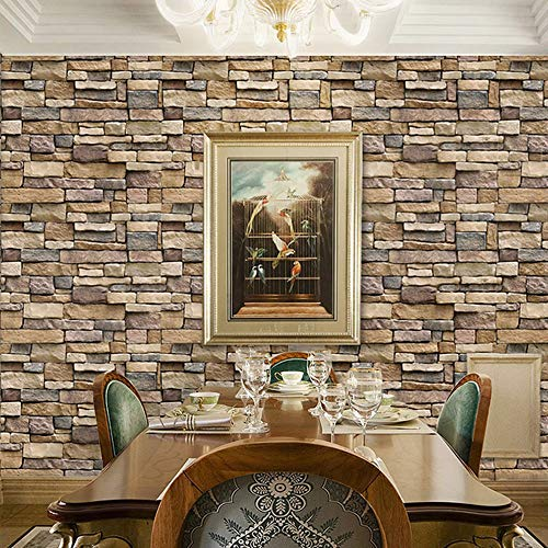 """Stone Brick Wallpaper Peel and Stick Wallpaper Cleanable 3D Brick Wallpaper Self Adhesive Wallpaper Countertop Removable Wallpaper for Home Decoration Stone Brick Wallpaper 17.71"""" ×393.7"""""""