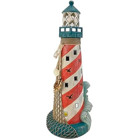 Acan - Faro, Figura Decorativa de Resina 14 x 14 x 36 cm. Adorno Original náutico para el hogar o como Regalo