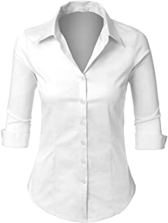 Womens Roll Up 3/4 Sleeve Button Down Shirt with Stretch