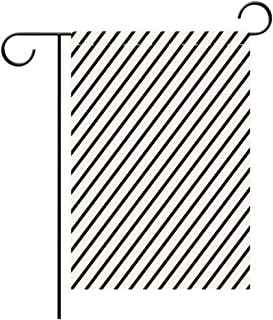 Custom Personalized Garden flag Outdoor flag Geometric Diagonal Stripes Monochrome Pattern Classical Old Fashioned Pattern Design Decorative Dark Blue White Best for Party Yard and Home Outdoor Decor