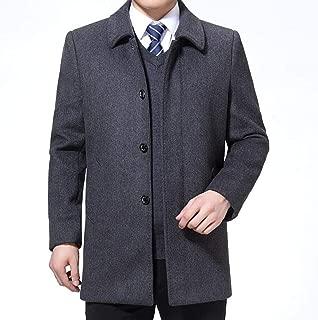 Men's Clothing Autumn and Winter Woolen Coat Men's Woolen Coat in The Long Section Plus Velvet Thick Woolen Business Coat Plush Lapel Warm Cotton Clothing (Color : Gray, Size : M) Clothing Autumn and