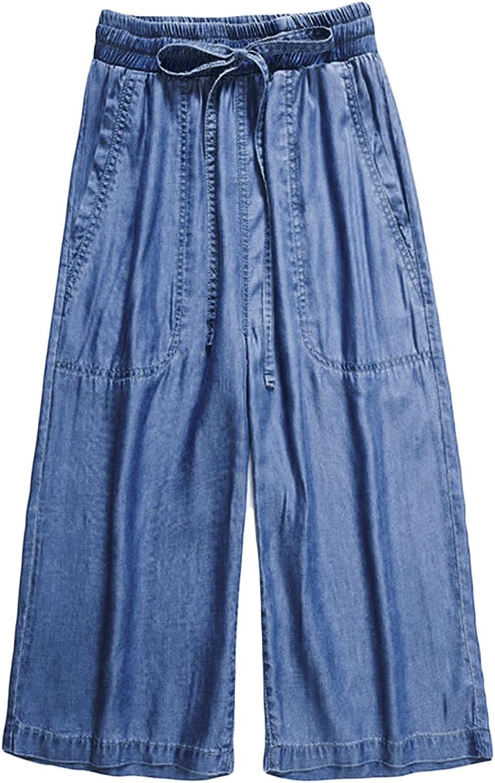 Women's Ice Silk Capri Pants High Rise Wid Leg Drawstring 3/4 Pant Elastic Waist Loose Pockets Summer Casual Trouser