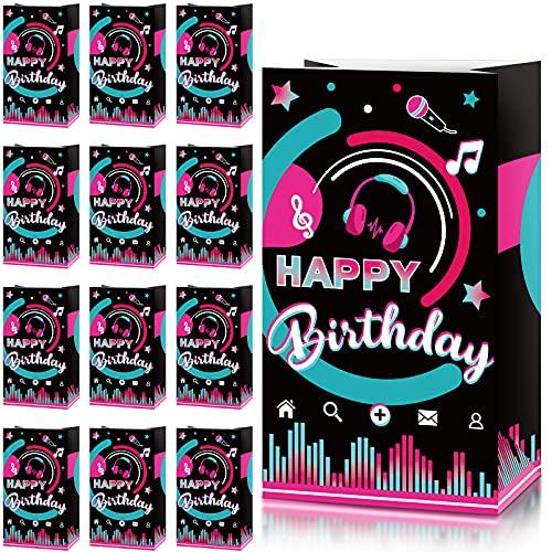 24 Pezzi Sacchetti di Carta Feste Musicali Sacchetti di Dolcetti Feste di Compleanno Sacchetti di Caramelle per Adolescenti Favore Feste di Compleanno Social Media, 8,3 x 4,7 x 3,1 Pollici