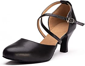 Dress First Women Professional Dance Shoes Closed Toe Mid Heel Genuine Leather Classic Salsa Tango Ballroom Latin Modern D...