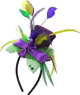 Unisex-Adult's Mardi Gras Mini Top Hat Headband with Feathers, Purple, Adjustable