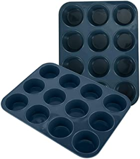 SUPER KITCHEN Grand Moule à Muffins 12 Moules en Silicone Plaque à Muffins, Lot de 2 Anti-adhésif Moule à Pâtisserie pour ...