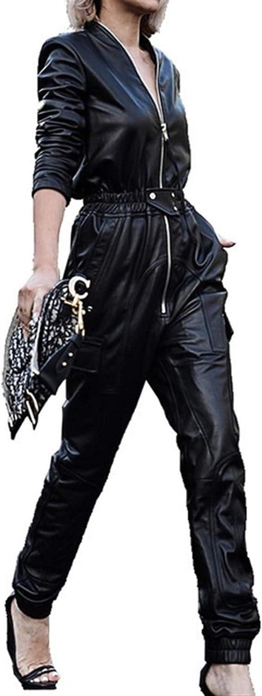 Mono Largo Negro De Cuero De Imitaci/ón De Las Mujeres Del Mono De Manga Larga De La Cremallera M/ás El Tama/ño De La PU Del Mono De Cuero For Las Mujeres 2020 Streetwear Mamelucos F Mono informal elegan