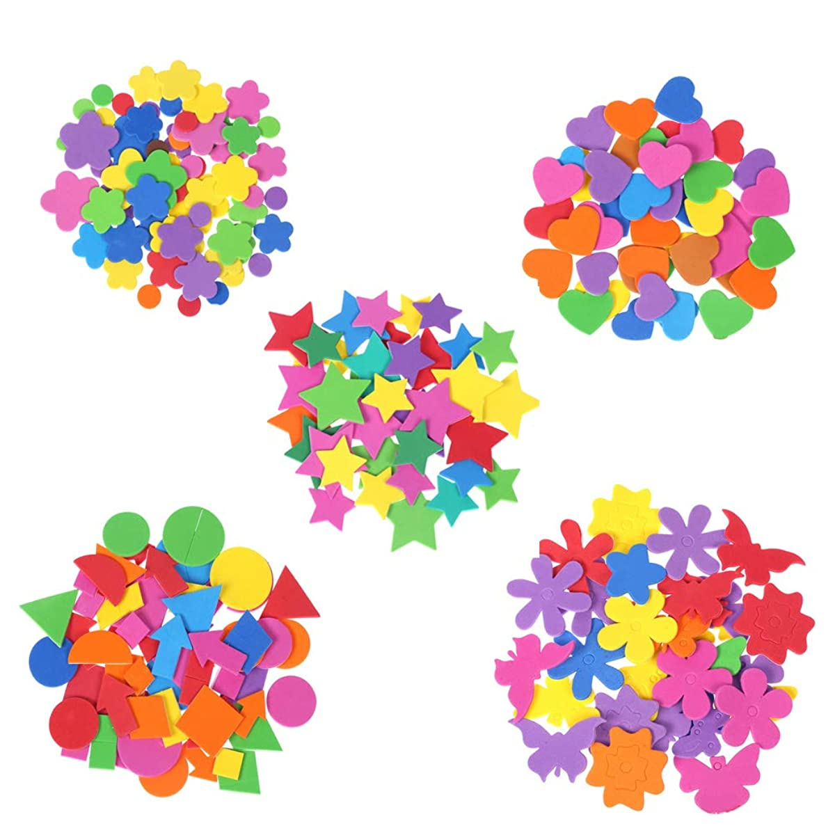 240 Pcs Mini Foam Stickers,Colorful Self Adhesive Geometry Foam Stickers,Stickers For Kids,Self Adhesive Diy Craft Sticker.suitable For Children's Crafts,Greeting Cards And Home Decoration. (5 Colors)