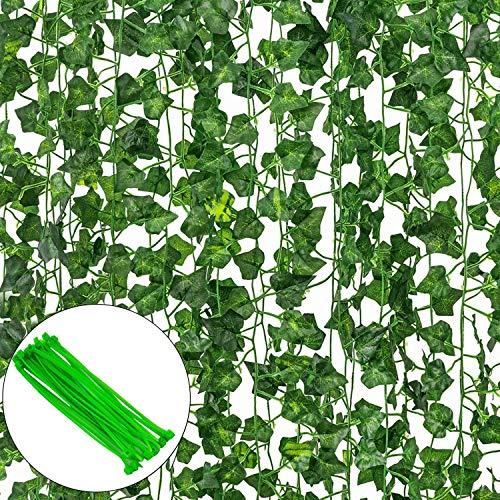 12 Pack Plantas Artificial Decoración Hojas, Hiedra Artificial 26M Garland Plants Hanging Wedding Garland Fake Follaje Flores Inicio Cocina Jardín Oficina Decoración