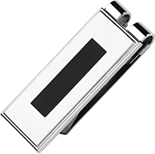 FB Jewels Stainless Steel Money Clip with Black Enamel