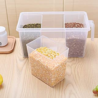RUSHIL WERE Pack of 1 Refrigerator Organizer Container Square Handle Food Storage Organizer Boxes - Clear with Lid, Handle...