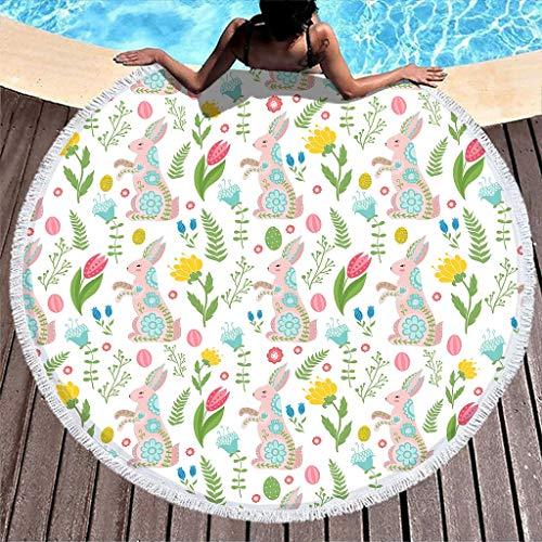 Toalla de playa redonda con flores de Pascua y conejos rosas, manta de pícnic, toalla de playa de secado rápido, toalla con flecos, para hombre y mujer, camping, viajes, color blanco, 150 cm