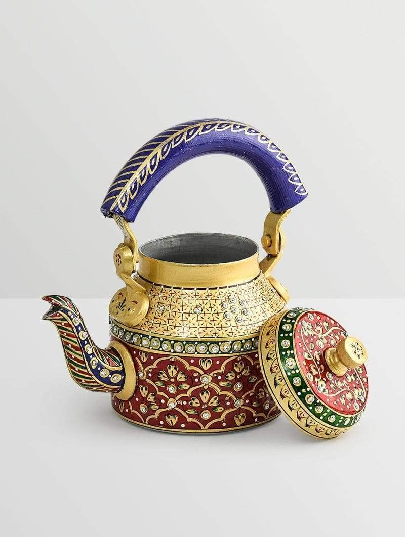 Red and Golden Hand Opening large release sale Painted 1000ml Tea in Max 87% OFF Pot Aluminum