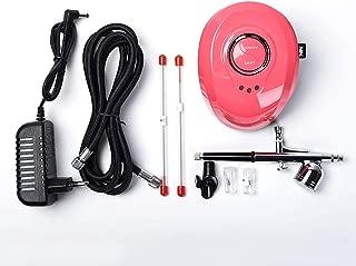 Alexnailart Profesional Aerógrafo kit compresor de Aire con boquillas multipropósito Equipo de pintura de manicura (Rojo)