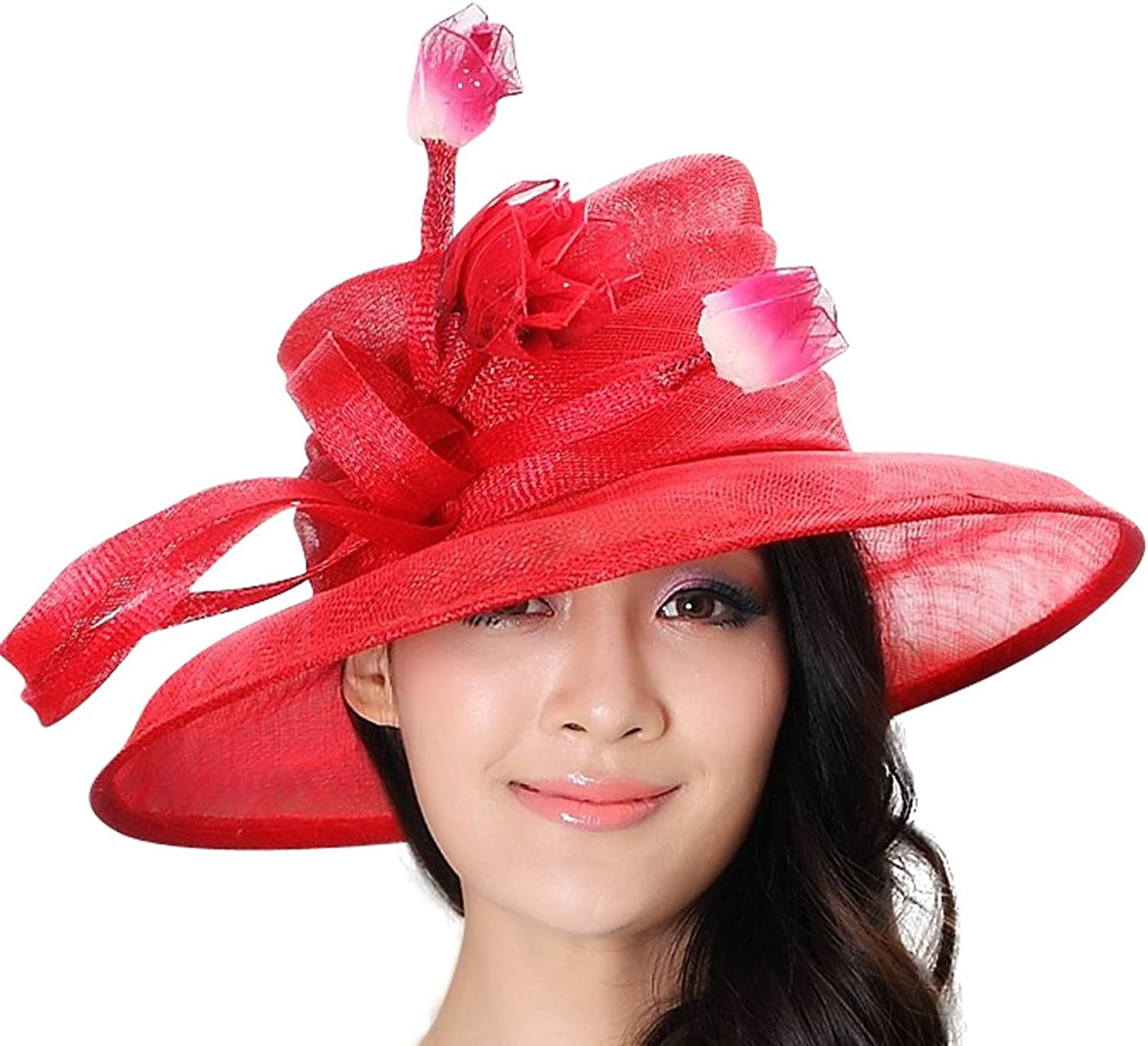 June's Young Summer Big Brim Hat Women Sinamay Flower Hat Sinamay Ribbon