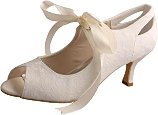 MW923A Lace Mary Jane Mid Heel Pumps Open Toe Bridal Shoes Wedding