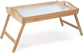 CONFORTIME Bandeja Cama Plegable, Mesa Madera con Asas 50 x 31 x 22 cm con Base Blanca fácil de Limpiar
