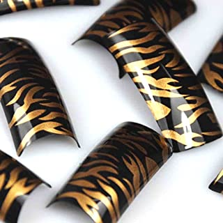 enForten 100 Beauty Golden Black Tiger Stripes Plastic Acrylic French False Nail Art Tips Fake Polish Nail Tips with Case
