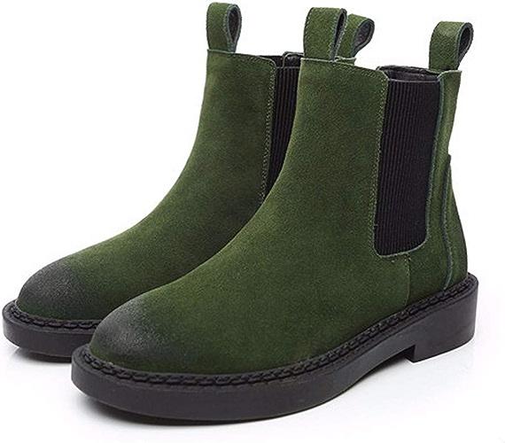 HBDLH Chaussures pour Femmes Hiver Chelsea Court Bottes Frosted Tête Ronde Dur avec 3 Cm à Fond Plat Dingxue Bottes Mahomme