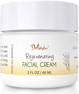 Face Moisturizer Cream with Organic Aloe Vera, Organic Coconut Oil, Vitamin C, Vitamin E and Rosehip Oil. Daily Facial Lotion for Dry Skin, Sensitive Skin. Rejuvenating Facial Cream by Deluvia