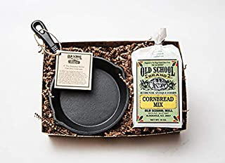 Old School Brand Cornbread Mix & Cast Iron Skillet Gift Set (Includes 6 Inch Cast Iron Pan and 1 Bag of Old School Brand, NON-GMO, Cornbread Mix)