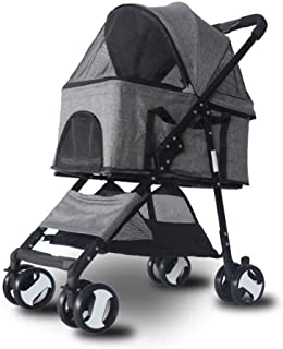 Pet stroller Four-Wheeled Pet Stroller, Pet Stroller, Pet Stroller,Lightweight and Portable Pet Stroller, for Small and Medium Pets (Color : Grey)
