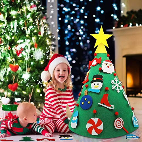 HusDow DIY Felt Christmas Tree with 22pcs Detachable Ornaments, 3D Kids Christmas Tree for for Toddlers Kids Xmas Home Door Decoration