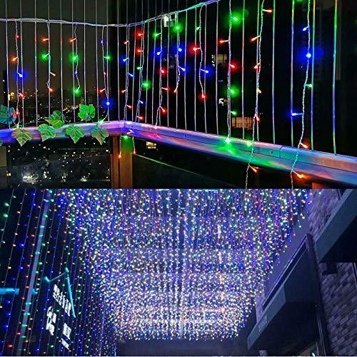 LED Eiszapfen Vorhang Lichter, LONJY 216 LEDs 16.4FT 8 Modi Twinkle Weihnachtsfee Wasserdichte Lichterketten f¨¹r Bar Einkaufszentrum Patio Yard Indoor Outdoor Dekoration (Mehrfarbig, 5M)