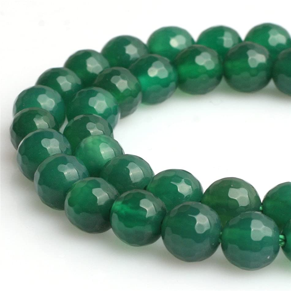 Green Agate Beads for Jewelry Making Natural Gemstone Semi Precious 8mm Round Faceted 15