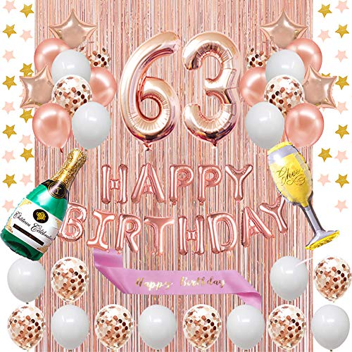 Fancypartyshop 63rd Birthday Decorations - Rose Gold Happy Birthday Banner and Sash with Number 63 Balloons Latex Confetti Balloons Ideal for Girl and Women 63 Years Old Birthday Rose Gold