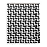 Schwarz Weiß Hahnentritt 60x72 Zoll für den täglichen Gebrauch Badezimmer Set Stoff Polyester Duschvorhang mit Haken wasserdichte Bronze