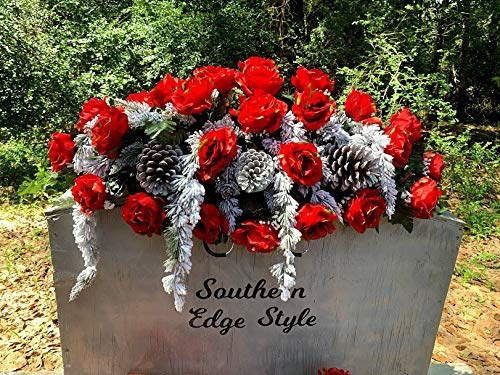 Winter Red Roses Grave Flowers, Christmas Grave Saddle, Grave Blanket, Winter Grave Blanket, Winter Cemetery Flowers
