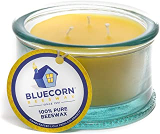 Bluecorn Beeswax 100% Recycled Spanish Glass Beeswax Candle - 3 Wick - Unscented Raw Beeswax