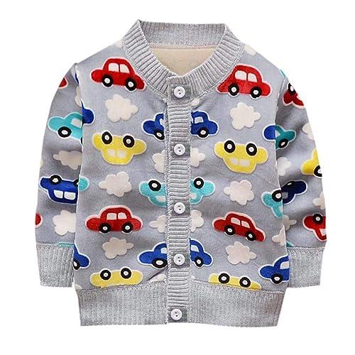 14539f6fda1 ESHOO Baby Girls Boys Strawberry Car Print Cardigan Fleece Warm Knitwear