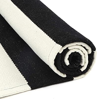 Tiffasea Black and White Striped Rug, 2x4ft Runner Rug Outdoor Boho Throw Rugs Small Area Rug Wide Stripe Kitchen Carpet Cotton Doormat for Entryway Bedroom Living Room Bathroom Laundry Room